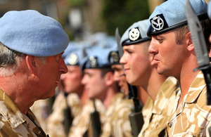 The Prince of Wales inspects soldiers