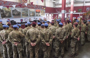 Defence Secretary Michael Fallon meets with members of 16 Air Assault Brigade