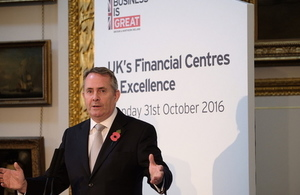 Dr Liam Fox at UK's financial centres of excellence conference