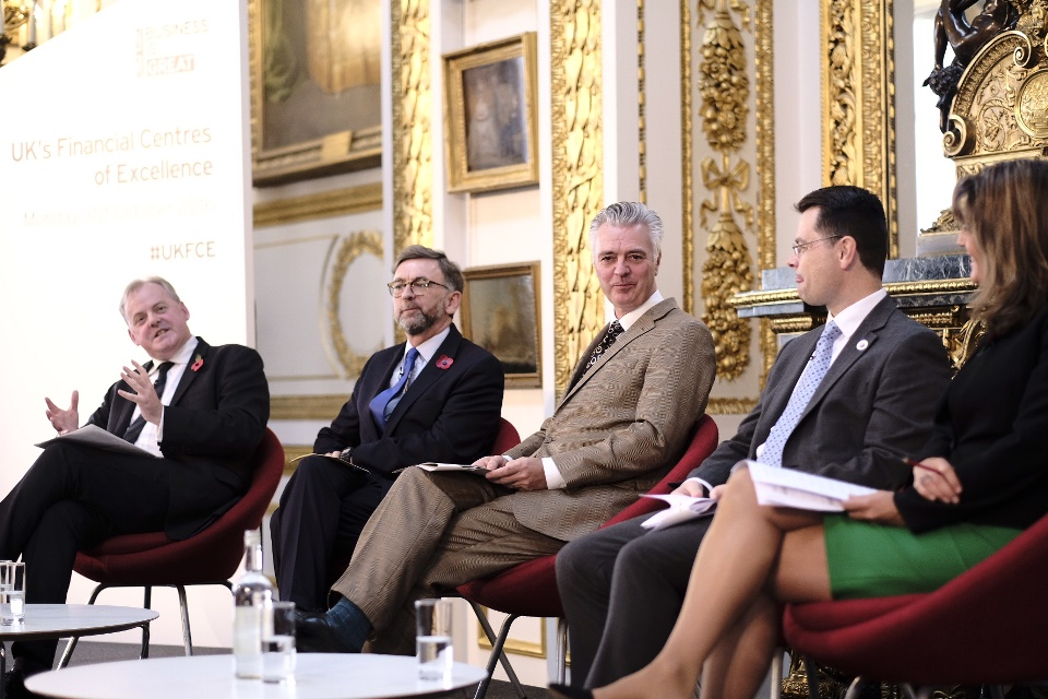 Ministerial panel discussion. From left: Wales Minister Guto Bebb, Parliamentary Under Secretary of State for Scotland Andrew Dunlop, Economic Secretary to the Treasury Simon Kirby,  Secretary of State for Northern Ireland James Brokenshire