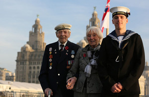 Navy Veteran Jim Simpson with wife Sybil and Sailor Lee Campbell on HMS Dragon today