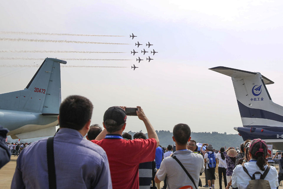 The Red Arrows perform first ever public display in China (Photo credit: Ministry of Defence UK Crown Copyright SAC Gina Edgcumbe)