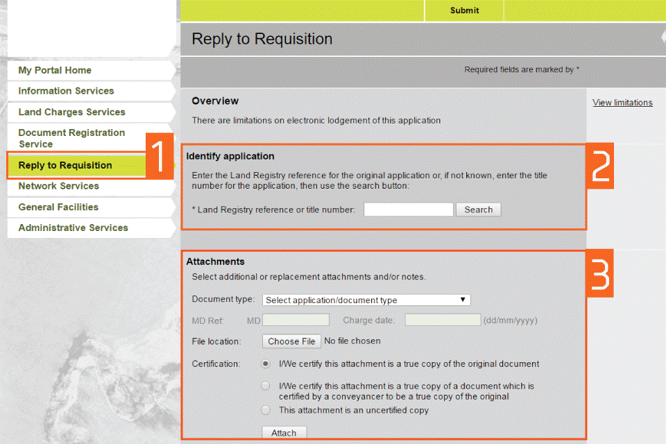 hm land registry portal reply to requisition gov uk