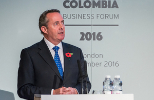 Liam Fox at the Colombia Business Forum