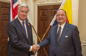 Pictured L-R: Secretary of State for Defence, Michael Fallon and Columbian Defence Minister, Luis Carlos Villegas