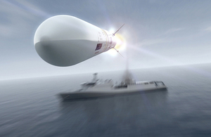 Computer graphic image of Sea Ceptor missile system