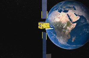 Computer-generated image of the Skynet 5D satellite in orbit [Picture: © Astrium / 2010]