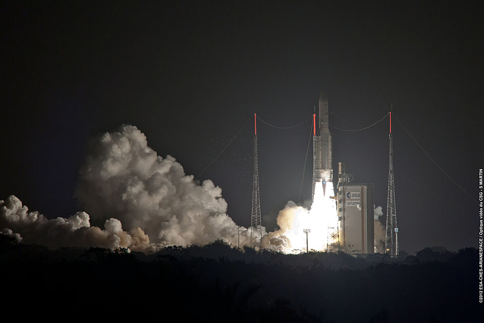The Skynet 5D satellite is launched from French Guiana