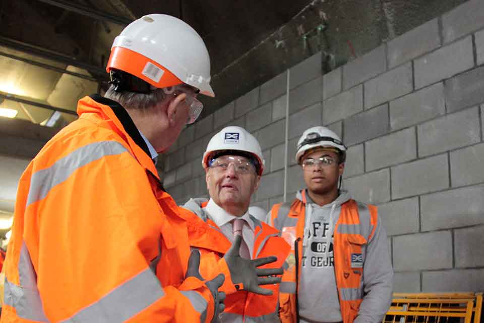 John Hayes MP at Crossrail with Sir Terry Morgan and Kayne Wilson.
