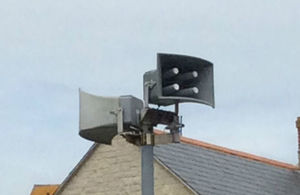 One of four flood sirens found at Chiswell Beach in Portland, Dorset