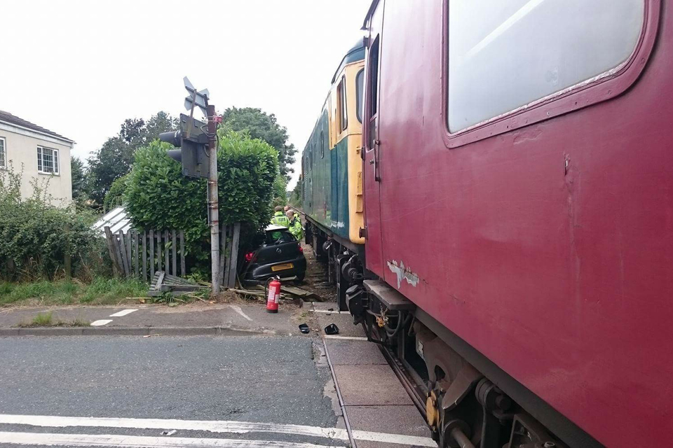 A photograph of Yafforth level crossing taken immediately following the accident (image courtesy of the Wensleydale Railway)