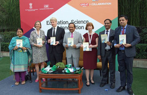 The launch of the new £1.6 million Newton Fund at the India-UK Tech Summit in Delhi with Innovate UK Chief Executive Ruth McKernan, Universities and Science Minister Jo Johnson and Dr Harsh Vardhan, Minister of Science & Technology and Earth Sciences.