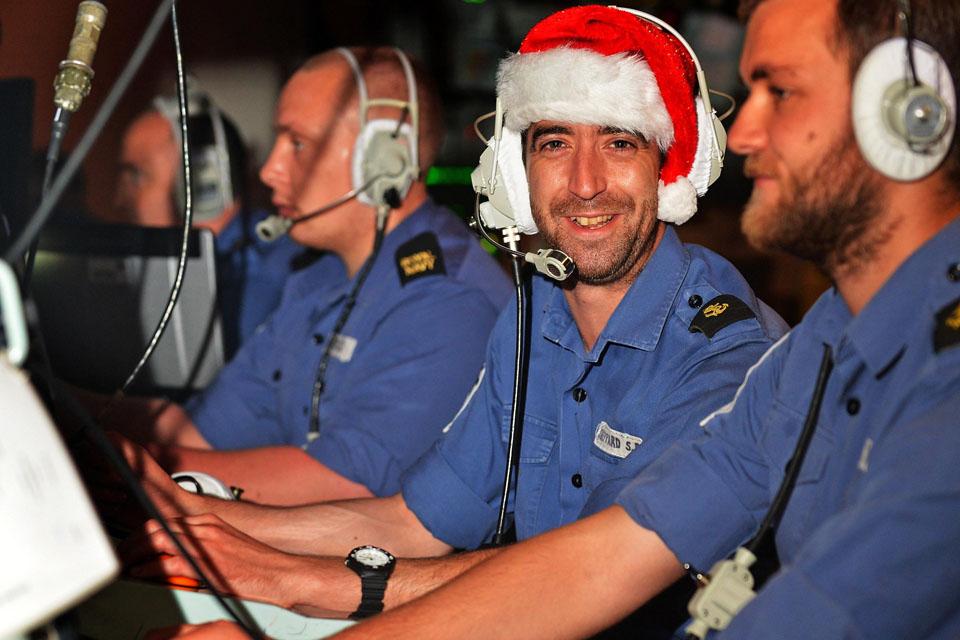 Christmas in HMS Monmouth's operations room