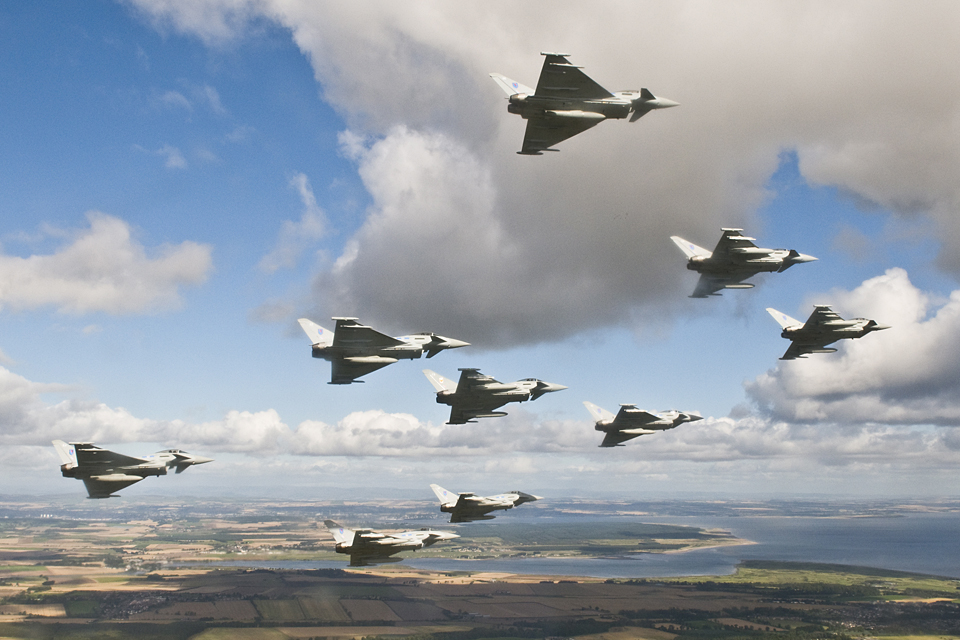 RAF Typhoon aircraft in flight (stock image) [Picture: Senior Aircraftman Ash Reynolds, Crown Copyright/MOD 2012]