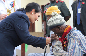 Priti Patel presents medals to Sierra Leonean veterans of the WW2 Burmese campaign.