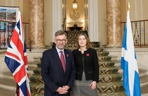Scotland Office minister Andrew Dunlop and Julie Hesketh-Laird, Scotch Whisky Association, acting chief executive