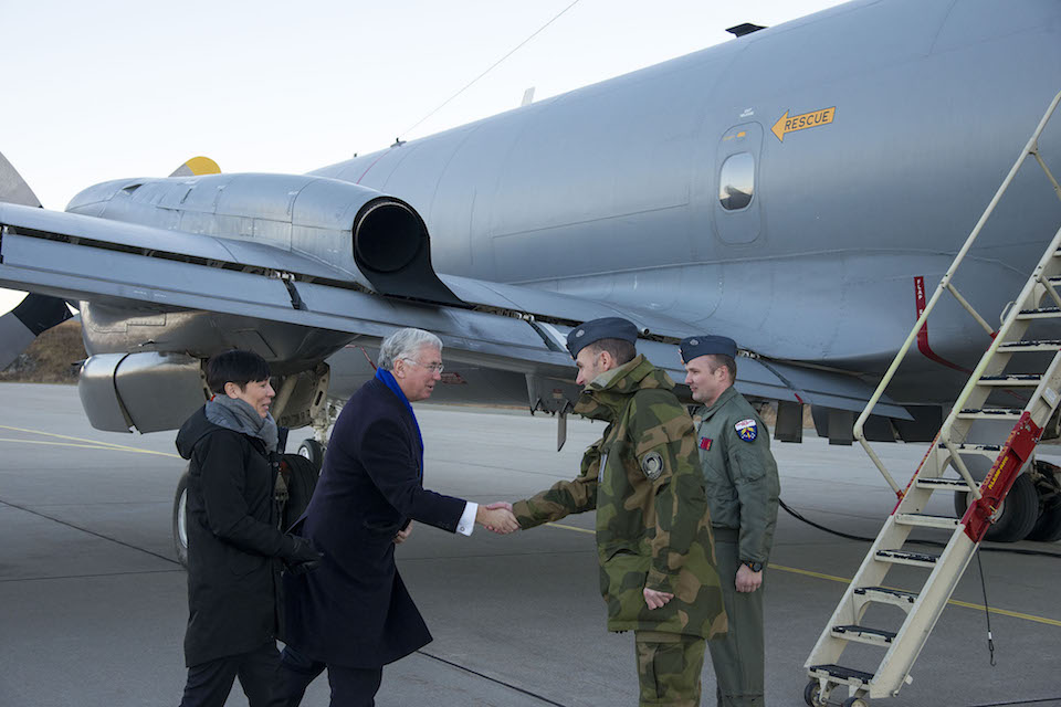 The Defence Secretary boards a Norwegian Maritime Patrol Aircraft with his counterpart, Ine Marie Eriksen Søreide