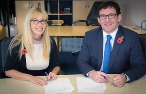 Photo of Ofqual Chief Regulator Sally Collier and CCEA Chief Executive Justin Edwards