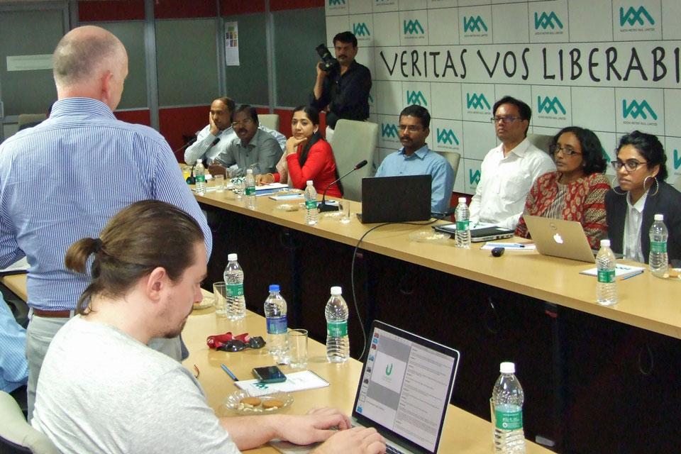 Mission participants meet the Kochi Metro Rail Limited team.