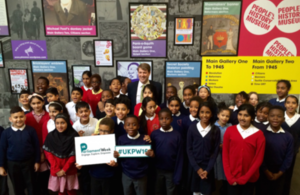 Minister for the Constitution Chris Skidmore and primary school children
