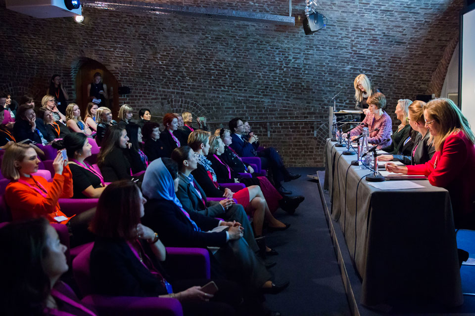 A panel of Emma Barnett, Hazel Moore, Jenny Tooth, Joyeeta Das and Fiona Marshall at the Women in Innovation Awards.