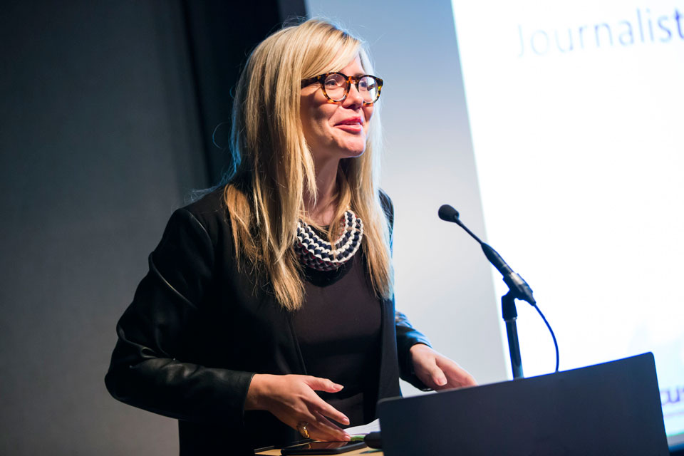 Emma Barnett, journalist and broadcaster, speaking at the Women in Innovation Awards