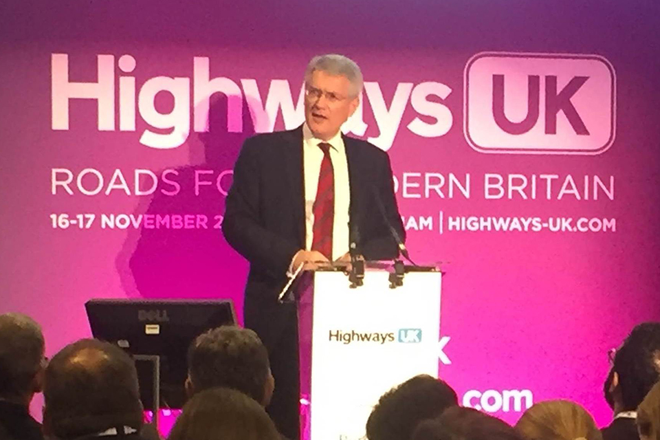 Transport Minister speech to Highways UK 2016.