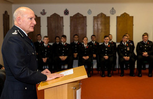 CNC Deputy Chief Constable Simon Chesterman welcomes the latest group of authorised firearms officers at their initial recruitment course graduation ceremony.