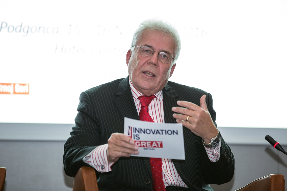 "Ambassador Whitting speaking at ""Innovation Reshaping Montenegro"" conference"