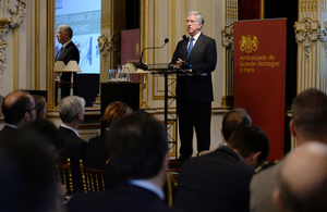 Defence Secretary Sir Michael Fallon speaks at the opening of the Franco-British Council