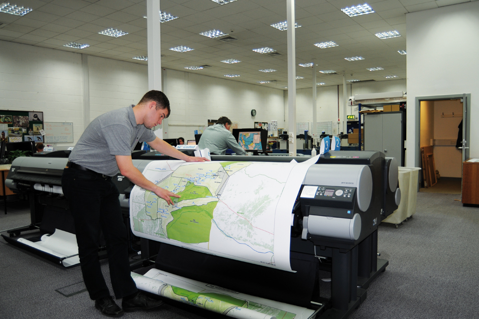 A large printer at the Defence Geographic Centre