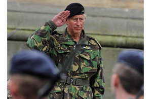 His Royal Highness The Prince of Wales takes the salute in Newcastle city centre [Picture: Mark Owens, Crown Copyright/MOD 2011]