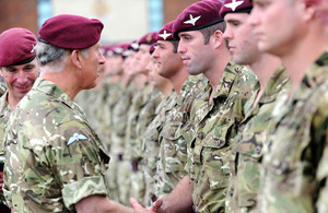 The Prince of Wales presents Operational Service Medals to soldiers from 2nd, 3rd and 4th Battalions of The Parachute Regiment [Picture: Cpl Rupert Frere RLC, Crown Copyright/MOD 2011]