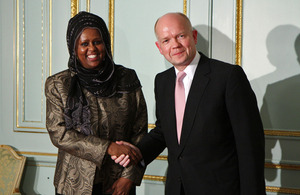 Foreign Secretary William Hague meeting the Somali Foreign Minister Fawzia Yusuf H. Adam