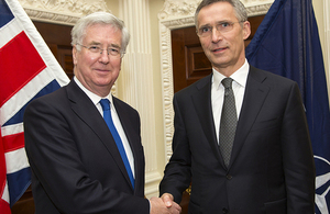Defence Secretary, Sir Michael Fallon meets the Secretary General Of NATO, Jens Stoltenberg. Crown copyright.