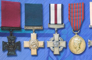 From left to right the medals shown are: the Victoria Cross, the George Cross and the Conspicuous Gallantry Cross