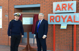 Defence Secretary Michael Fallon opens the Ark Royal Building in Portsmouth