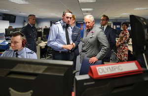 Prince Charles views the Air Surveillance and Control System at RAF Boulmer [Picture: Crown Copyright/MOD 2012]
