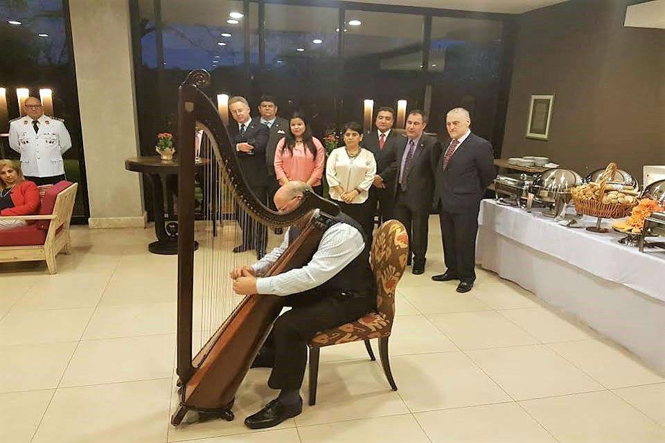 The talented welsh harpist Robin Huw Bowen