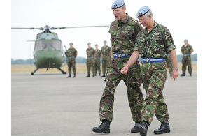 His Royal Highness The Prince of Wales (right) is greeted by the Commanding Officer of 1st Regiment Army Air Corps, Lieutenant Colonel James Anderson, on his arrival at Princess Royal Barracks in Gutersloh [Picture: SSgt Ian Houlding RLC, Crown Copyright