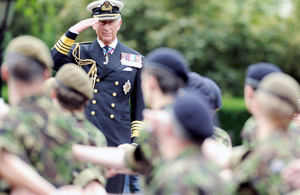His Royal Highness The Prince of Wales takes the salute in The Mall at a Royal Review celebrating 150 years of the Cadet Forces [Picture: POA(Phot) Mez Merrill, Crown Copyright/MOD 2010]