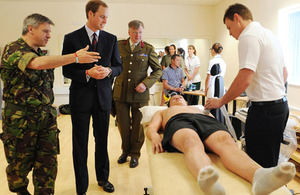 His Royal Highness Prince William meets patients during a tour of the new facilities at the Headley Court Defence Medical Rehabilitation Centre  [Picture: Ben Stansall, PA Wire/2010]