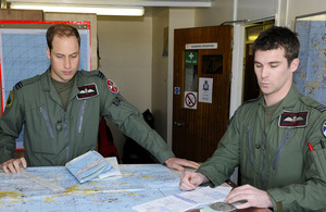 Flight Lieutenant William Wales (left) and a fellow crew member prepare for their first sortie of their six-week deployment in the Falkland Islands [Picture: Sergeant Andy Malthouse ABIPP, Crown Copyright/MOD 2012]