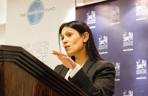 Priti Patel speaking at a Freedom Fund event ahead of International Day for the Abolition of Slavery. Picture: Rahil Ahmad/Freedom Fund