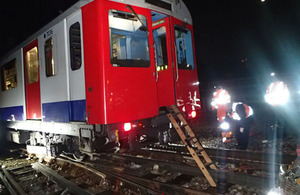 The derailed train, showing the ladder used to evacuate the passengers (courtesy of LUL)
