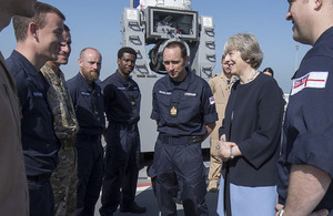 Prime Minister meeting Royal Navy personnel on board HMS Ocean in Bahrain.