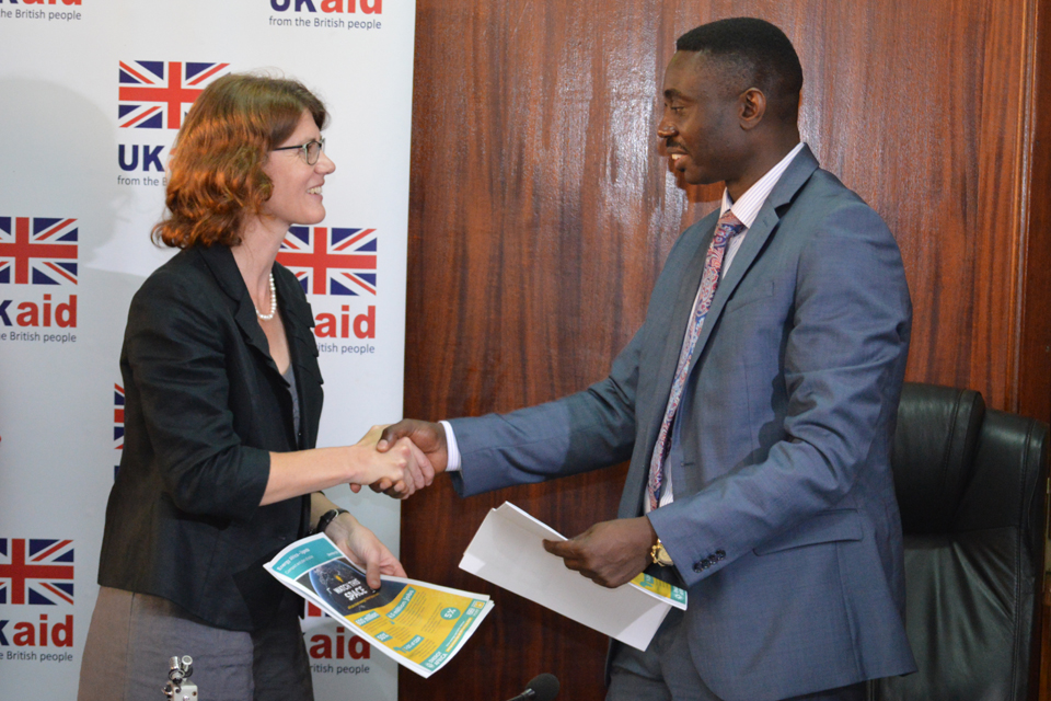 Head of DFID Uganda, Jennie Barugh and Dr Stephen Isabalija, Permanent Secretary at the Ugandan Ministry for Energy and Mineral Development