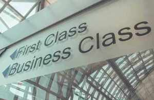 Airport direction board to Business Class and First Class