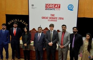 British Deputy High Commissioner Mr. Patrick Moody with the Vice Chancellor of Quaid-i-Azam University, Dr Javed Ashraf and semi finalists of Great Debate competition.