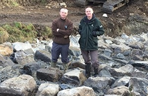 Images shows Paul Frear and Steve Hudson at the site of one of the fish passes